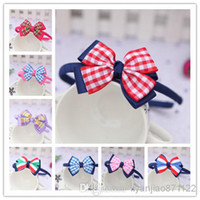 plastic lattice - Baby inch Grosgrain Lattice Ribbon Bows Headbands Kids Wrapped Stripes Ribbon Bowknot Plastic Headwear Hair Band Baby Hair Accessories