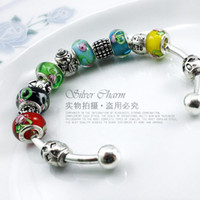 Wholesale Free Fast Shipping european style silver925 glass beaded charm bracelets and bangles for women siler jewelry PA3019