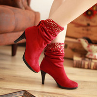 Cheap Fashion Autumn Rhinestone Ankle Boots New Women Shoes High Heels 3 Colors Winter Boots 2014
