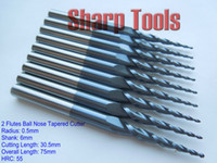 Wholesale Efficient R0 D L F Tapered Bit HRC55 Coated Ball Nose End Mills Tungsten Carbide Cutting Tools for Hard Steel