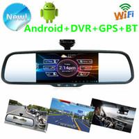 "Cheap Newest 2014! 5 ""Android Car rear view mirror Car DVR dual-lens camera + HD night vision camera + GPS Navi function + Bluetooth + Wifi + MP5"