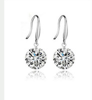 925 Sterling silver beautiful jewelry - Beautiful Shinning Crystal Bridal Jewelry Designer Gorgeous Silver Wedding Eardrop Prom Party Event Earbob Evenning Accessories Earrings
