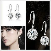 925 Sterling silver unique jewelry - 2014 Unique Shinning Crystal Bridal Jewelry High Quality Silver Wedding Eardrop Prom Party Event Earbob Evenning Accessories Earrings