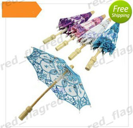 Wholesale LLFA528 Hot Selling New Bridal Embroidered Lace Parasol Wedding Party Decoration Umbrella Colorsff
