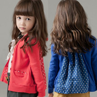 Cheap New 2014 the coat for girl clothes hot selling -summer winter girls sweatshirts polka dot coats long sleeve