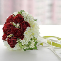 Bouquet ball garland - Fashion Flowers Petals Garlands Gorgeous Red Rose Romantic Bridal Hold Flower Handflower For Wedding Ball Flower Accessories