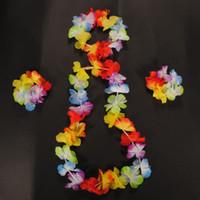 al por mayor collares guirnalda-Wholesale- 4pcs / set 10set / lot hawaiana diadema Leis Set Garland Collar de la flor pulsera de la pulsera de Hula Luau