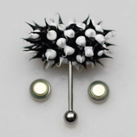Wholesale vibrating tongue ring silicone ball black and white color crazy body piercing jewelry