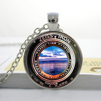 antique camera lenses - K11 Pendant Necklace or Key Ring Image of a Vintage Zeiss Ikon Camera Lens Photography Camera Lens Sunset Beach Antique Lens