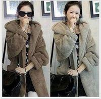 Wholesale 2014 Winter Women s loose cloak warm coat thicker plush hooded fur coat with belt jackets S11
