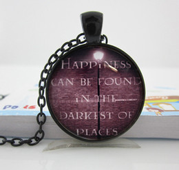 Wholesale k39 Harry Potter Happiness Can Be Found In The Darkest Of Places Necklace