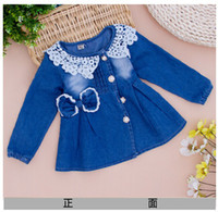Wholesale new girl s jeans dress cotton autumn longsleeve blue kids princess dress denim lace collar dresses girl s clothing Y