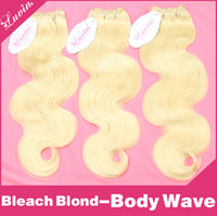 "Cheap Bleach Blond Brazilian Hair Body Wave 3Pcs Lots Human Virgin Hair Extensions Weave 16""-24"" Color 613 Hair"