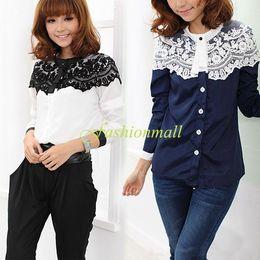 2014 New Style Women Lace Patchwork Blouse Cape-style Chiffon Casual Shirt Stitching Lady Clothing #005 SV006004