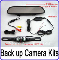 "Cheap 4.3"" Wireless Mirror Monitor Reverse Camera Car Kit Night Vison 2.4GHz rear view system"