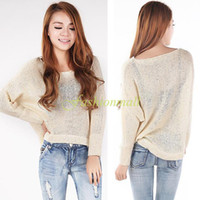 Cheap Free Shipping 2014 Women Batwing Sweaters Knit Pullover Tops Short Design Round Neck Loose Casual Jumper #12 SV006074