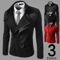 Wholesale Fashion Mens Wool Trench Coat warm Winter Jackets Europe Stylish Overcoat Outerwear Slim Pea Coat Men High Quality