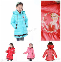 winter padded jacket - 4 color Frozen Elsa Anna down winter coat Kids thick long cotton padded clothes Jacket Coat outwear Frozen A615