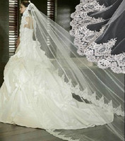 Wholesale In Stock Vintage White Ivory Long MTulle Wedding Bridal Veil One Layer Applique Lace Wedding Veils