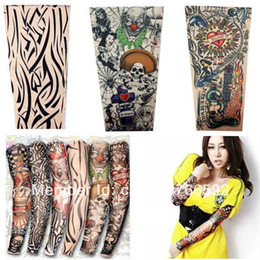 Wholesale in one package Stretchy Fake Tattoo Sleeves Arm Stockings new kinds of styles for you ncBN0