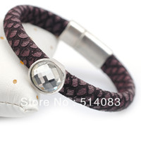 Wholesale Fashion genuine leather bracelet Gray neutral style leather bracelet Set with round crystal