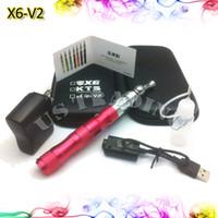 Cheap X6 Mod Electronic Cigarette Starter Kits Zipper Case X6 Variable Voltage X6 Battery 360 Rotation V2 Atomizer E Liquid Bottle Wall Chareger
