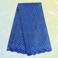 Wholesale Beautiful Swiss voile lace for cloth TC2 High quality royal blue African embroidery cotton lace fabric for dress