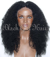 Wholesale Good quality Afro kinky curl virgin human hair middle part human hair bleached knots natural hairline full lace wig