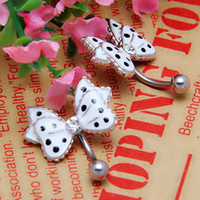 Wholesale Black Dot Bowknot Crystal Stainless Steel Belly Navel Ring Stud Jewelry
