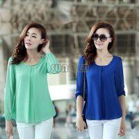 Cheap Womens Fashion Sexy Long Sleeve Casual Tops Shirt Pleated Chiffon Blouse for Women M-XXL 4 Colors 18559