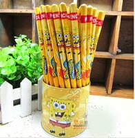 pencil holder - 1lot the Spongebob Design HB Stationery Pencil W Tin Holder