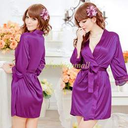 Wholesale Plus Size Womens Ladies Open Front Sexy Lingerie Set Robe Pajamas Nightgown Sexy Sleepwear Costume Thong Underwear B16 SV003793