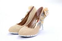 Cheap Newest Brilliant Silver Red Gold 10cm High Heels Bride Bridesmaid Shoes Wedding Shoes Party Dinner Prom Shoes Size (34 35 36 37 38 39) A123