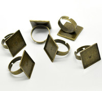 Cheap Free Shipping 50pcs Antique Bronze Adjustable Square Cabochon Ring Settings 18.3mm US 8(Fit 20x20mm) Findings Wholesale