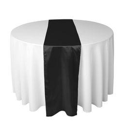 Wholesale 15 Black Satin Table Runner quot x108 quot X cm Wedding Party