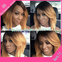 Wholesale two tone ombre bob wig brazilian virgin hair lace front blonde ombre bob wig human hair bob lace front wigs for black women