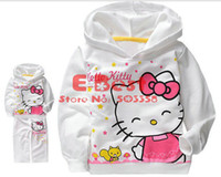 Wholesale New Design Long Sleeves suits Hooded Hello Kitty tracksuits Autumn cotton wear Pink White sets