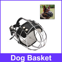 basket dog muzzle - Steel Cage Style Dog Basket Wire Muzzle Protective Snout Cover with Leather Strap for Rottweiler Dog