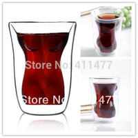 Wholesale New Double Insulating Glass Crystal Sexy Beauty Cup Sexy Lady Mug Pieces Set