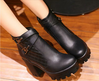 Wholesale New season short boots coarse with high waterproof Taiwan fastener bind female boots big yards
