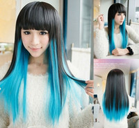 Wholesale Bess Cosplay wig manufacturer direct Harajuku colorful gradient cm long straight hair Anime wigs BS17A