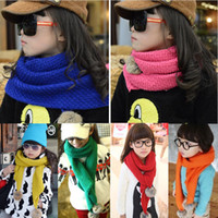 Wholesale Children scarvesB728 rabbit fur ball Children s scarf knitted scarf winter new Korean version of the new children s scarf qiu dongshawls
