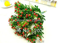 Cheap Wholesale-1PCS Bouquet Artificial strawberry flowers plants for Wedding Party Home Decor gift craft DIY CN post