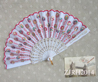 plastic hand fan - Plastic Handle Embroidered Folding Craft Fans Wedding Fans Bridal Accessories Handmade Spanish Hand Fans inches Mixed Colors
