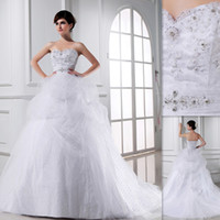 Wholesale Fantastic Indian Wedding Gowns White A line Sweetheart Appliques Beaded Tulle Lace Up Church Bridal Dresses