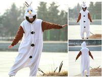 Wholesale Frozen Olaf Costume Onesies Pajamas Kigurumi Jumpsuit Hoodies Adults Cosplay Costumes