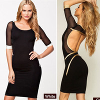 Cheap New Spring Summer Women Casual Dress Fashion Mesh Patchwork Slim Hip Sexy Club Wear Party Dresses Women Clothes Bandage Dress