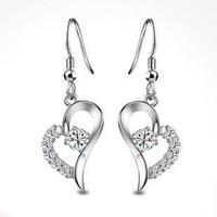 Dangle & Chandelier Silver Celtic Elegant Heart Earring,Heart Drop Earring,S925 Sterling Silver with Austria Crystal OE40