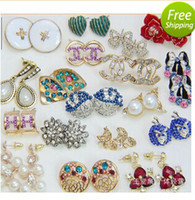 Wholesale Upscale Colorful Earring Exquisite Crystal Gemstone Pearl Series Charm Earrings Ear Stud Box Packing Cheap