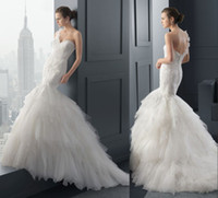 Real Photos Crew Tulle 2015 Custom Lace Tulle One Shoulder Mermaid Wedding Dresses Sweetheart Sheer Amazing Appliques Tiers Garden Bridal Party Gowns 2014 SSJ